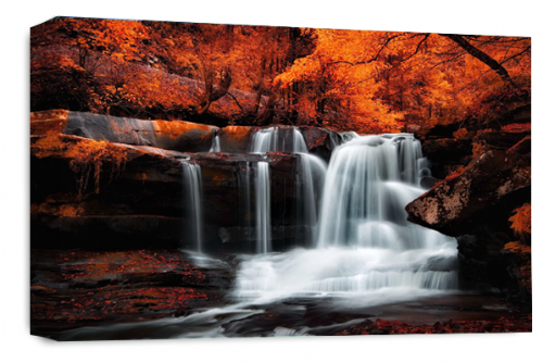 Waterfall Landscape Wall Art Orange Grey White Canvas Forrest Picture
